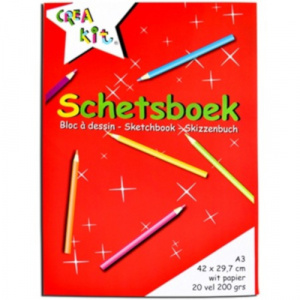 Crea-kit schetsblok junior A3 papier wit 20 vellen