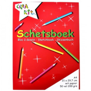 Crea-kit schetsblok junior A4 papier wit 50 vellen