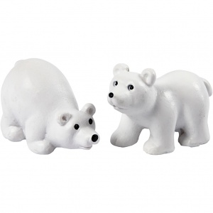 Creotime miniature polar bears 2 pieces 4,5 cm white