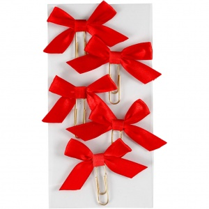 Creotime paperclips with bow red 40 x 70 mm 5 pieces