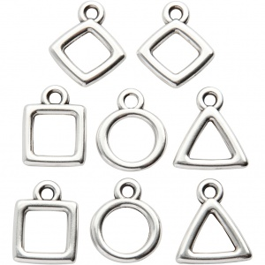 Creotime jewelry pendants 12 x 12 mm 8 pieces silver