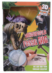 DinoWorld hakpuzzel Triceratops junior gips paars 5-delig