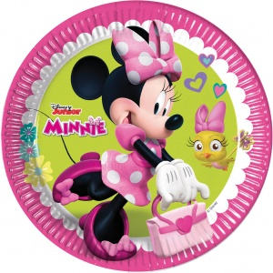 Disney party signs Minnie Mouse 23 cm pink / green 8 pieces