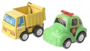 Eddy Toys Mini pull-back vehicles: dump truck and police