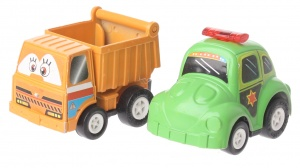 Eddy Toys Mini pull-back vehicles: dump truck and police car