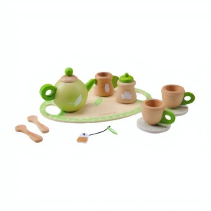 Everearth Wooden kitchen toys tea role play white/green 11-piece