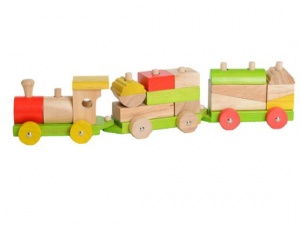 Everearth Trein blokken hout multicolor