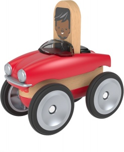 Fisher-Price Wonder Makers auto 9 cm rood/blank 4-delig