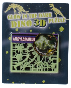 Free and Easy 3D puzzel glow in the dark 17 cm ankylosaurus