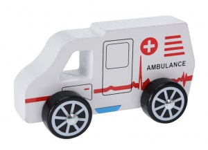 Free and Easy ambulance hout 13 cm wit