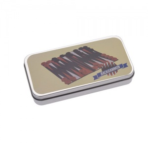 Free and Easy Backgammon reisspel in blik 14 cm