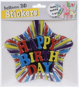 Free and Easy balloon 3D stickers Happy birthday 16cm star