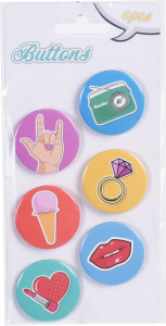 Free and Easy buttons lifestyle junior 3 cm staal 6 stuks