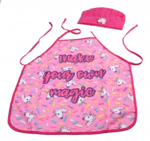 Free and Easy kitchen apron with chef's hat unicorns pink