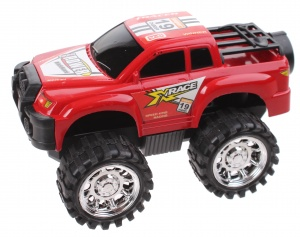Free and Easy monstertruck frictiemotor 13 cm rood