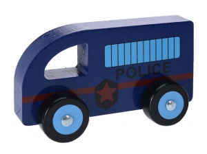 Free and Easy politieauto hout 13 cm blauw