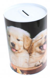 Free and Easy spaarpot 15 cm blik drie puppy's blond