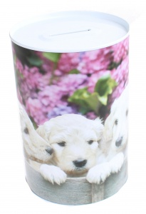 Free and Easy spaarpot 15 cm blik vijf puppy's blond