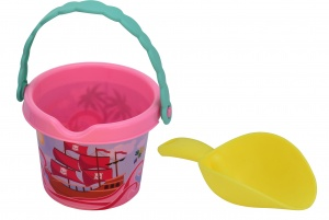 Free and Easy beach bucket with shovel pirates 17,5 cm pink