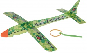 Free and Easy vliegtuig wind-up plane 36 cm groen