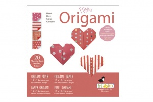 Fridolin origami Hearts folding 15 x 15 cm 20 pieces red