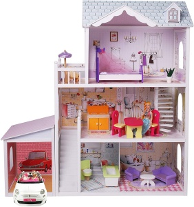 Gerardo's Toys wooden doll house with garage Charlene123.5 cm 14-piece