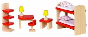 Goki Childrens Wooden Dollhouse 11 PCS