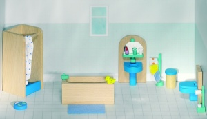 Goki Wooden Doll House Modern Bathroom 17-Piece