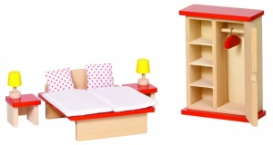 Goki Wooden Doll House Bedroom 11 PCS