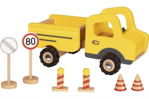 Goki work vehicle with road signs 23 cm yellow 7-part