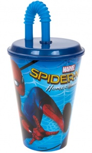 Kamparo drinkbeker Spider-Man met rietje 400 ml blauw