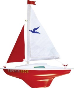 Günther Modell Segelboot Captain Hook 24 x 31 cm weiß / rot
