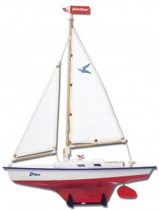 Günther modelzeilboot Move 39 x 50 cm wit/rood