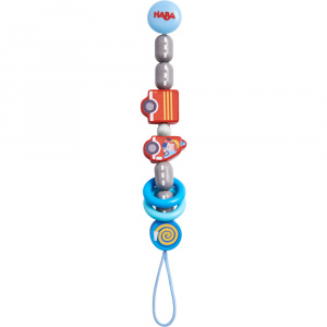 Haba fopspeenketting junior 22 cm polyester/hout rood/blauw