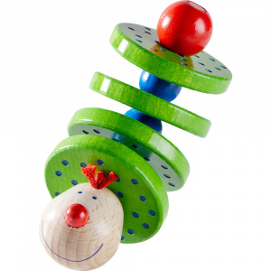 Haba rattle Flapsi junior 11 cm wood green/blue
