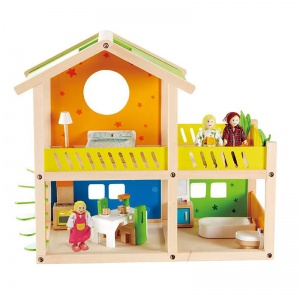 Hape wooden dollhouse Happy Villa 26-piece
