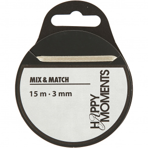 Happy Moments Satin ribbon 3 mm x 15 m off-white