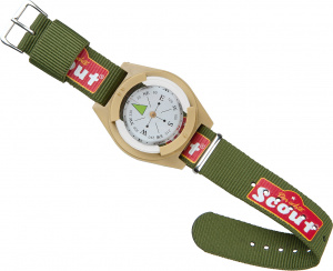 Happy People wrist compass Scout 40 x 34 mm polyester green/beige