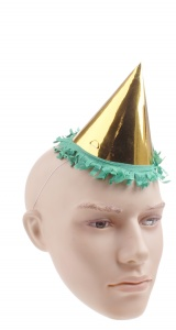 Haza Original party hat gold/green 12 cm
