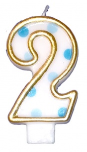 Haza Original birthday candle number 2 gold/blue 6 cm