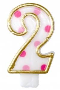 Haza Original birthday candle number 2 gold/pink 6 cm