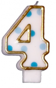 Haza Original birthday candle number 4 gold/blue 6 cm