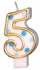 Haza Original birthday candle number 5 gold/blue 6 cm