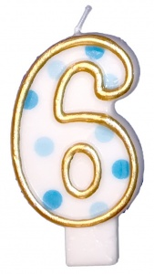 Haza Original birthday candle number 6 gold/blue 6 cm