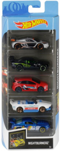 Hot Wheels cadeauset Nightburnerz 7,5 cm staal 5-delig (GHP58)