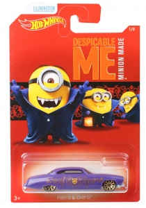 Hot Wheels Despicable Me Minions auto Fish & Chip paars 6 cm