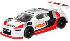 Hot Wheels Eurospeed Audi R8 LMS wit/rood 6,5 cm (FLC15)