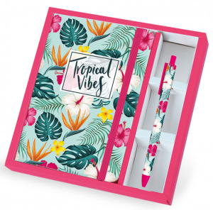 I-Total notitieboek met pen Tropical A5 groen/roze 2-delig
