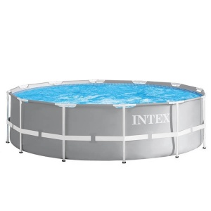 Intex pool with filter pump and ladder Prism Frame Ø366 x 99 cm grey