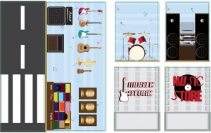 iWallz decoratiestickers Music Store 6-delig